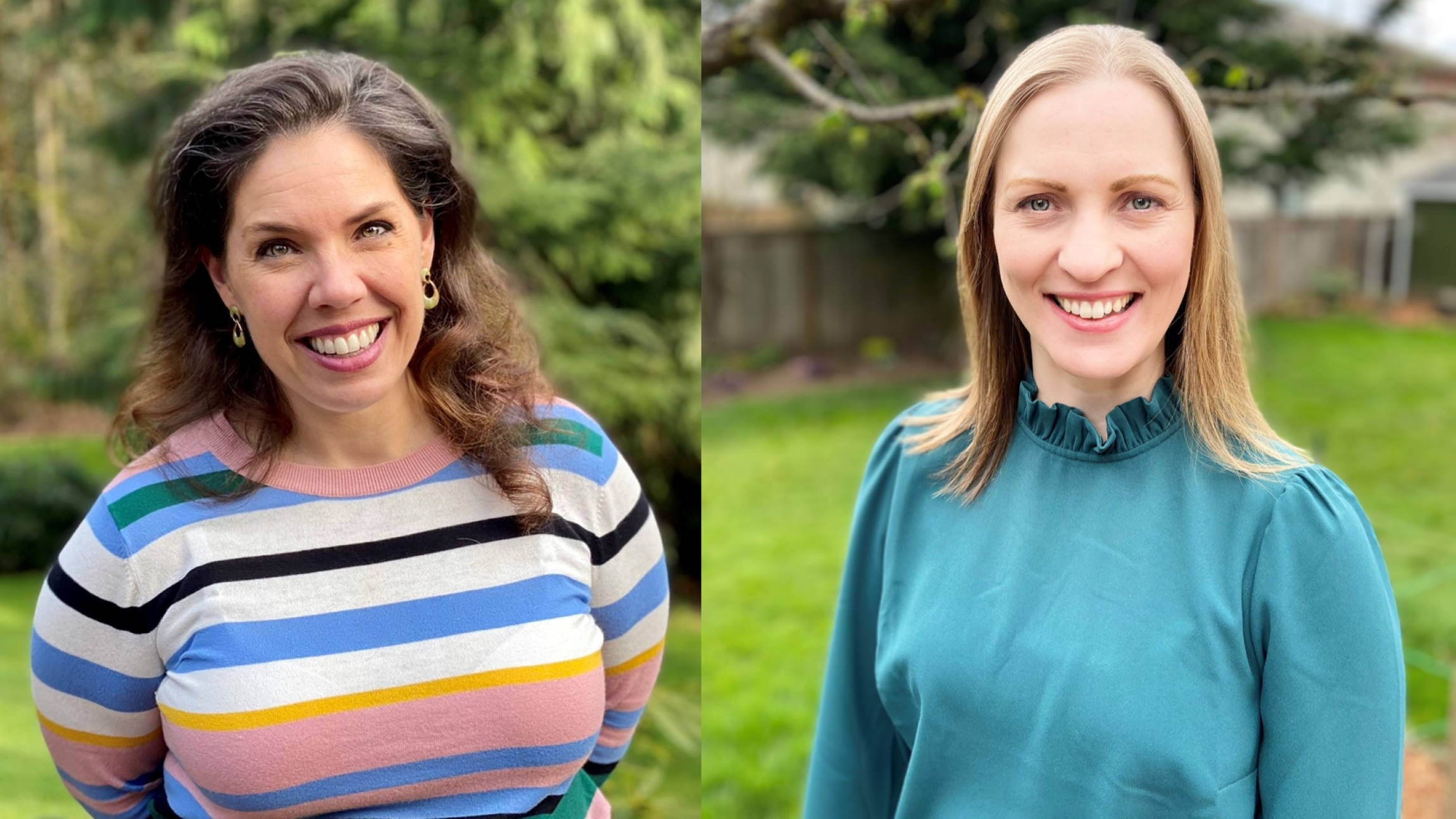Sara Bush (left) and Sarah Lundy smile for their photos.