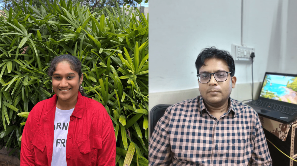 A split photo, with Pokala on the left, standing outside in front of a plant, and Sanghi on the right, sitting inside at a desk.