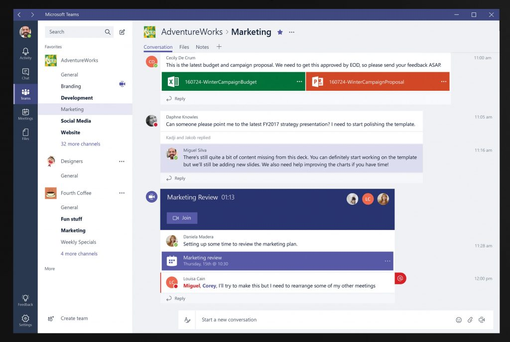 Microsoft Teams threaded conversations view