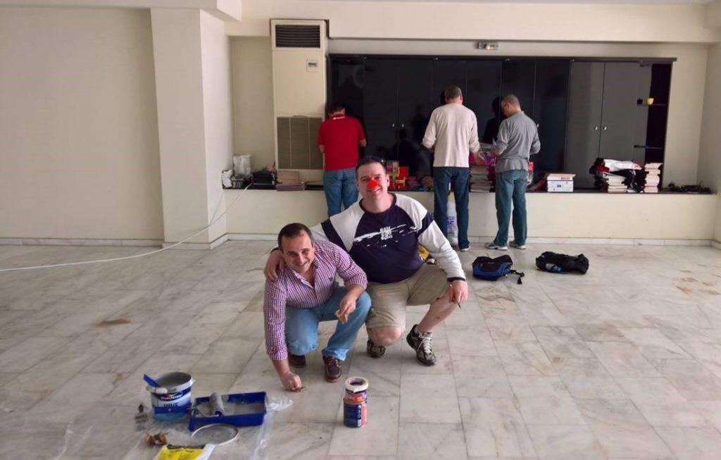 Ugur Yilmaz and Doug Pierson prepare for the renovations.