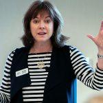 Barbara Wixom making a presentation.