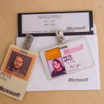 Pete Apple's Microsoft vendor badge from the early 90's along with a 5¼ Windows NT release boot disk