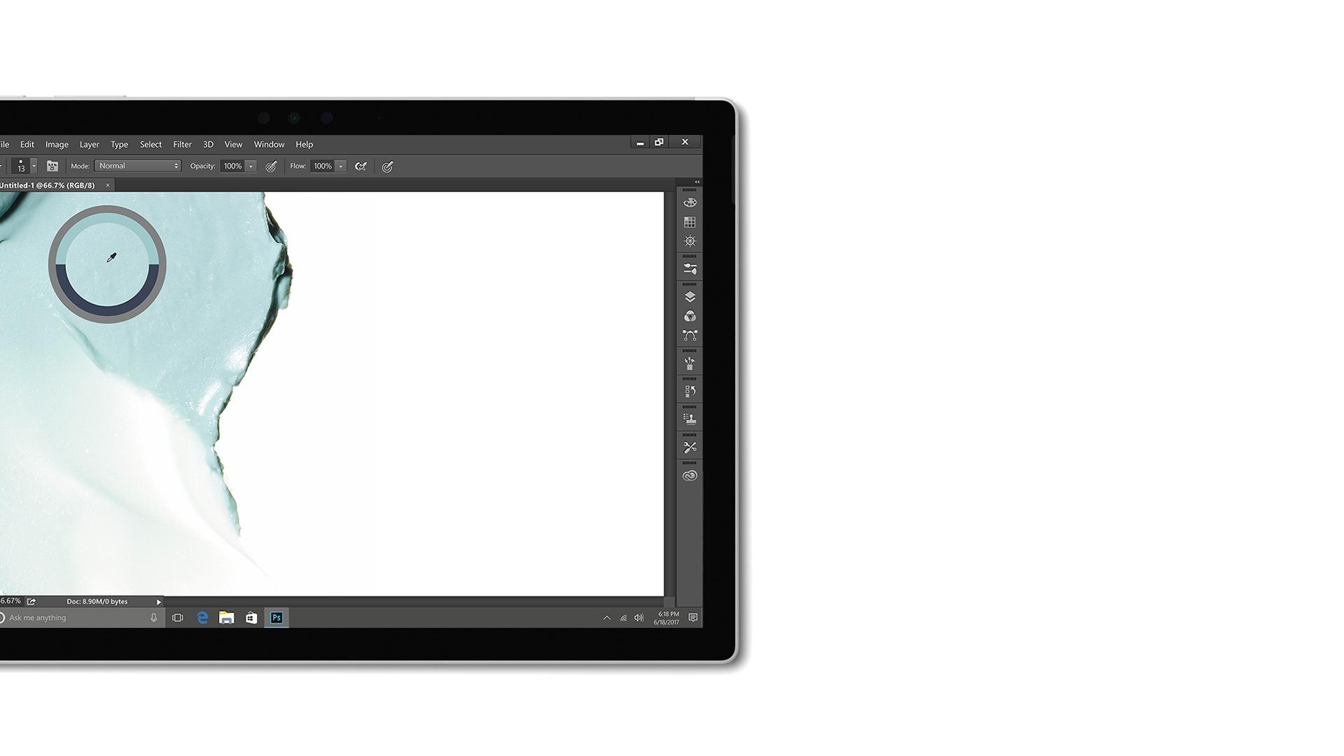 Schermata dell'app Creative Cloud su Surface.
