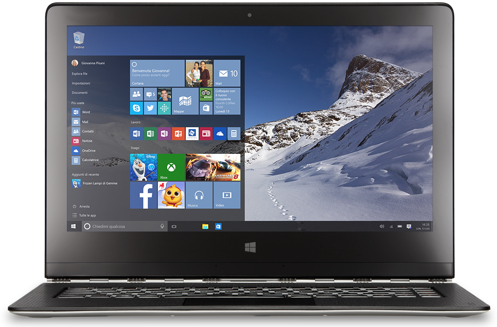 """Nešiojamasis kompiuteris su """"Windows 10"""" pradžios meniu"""