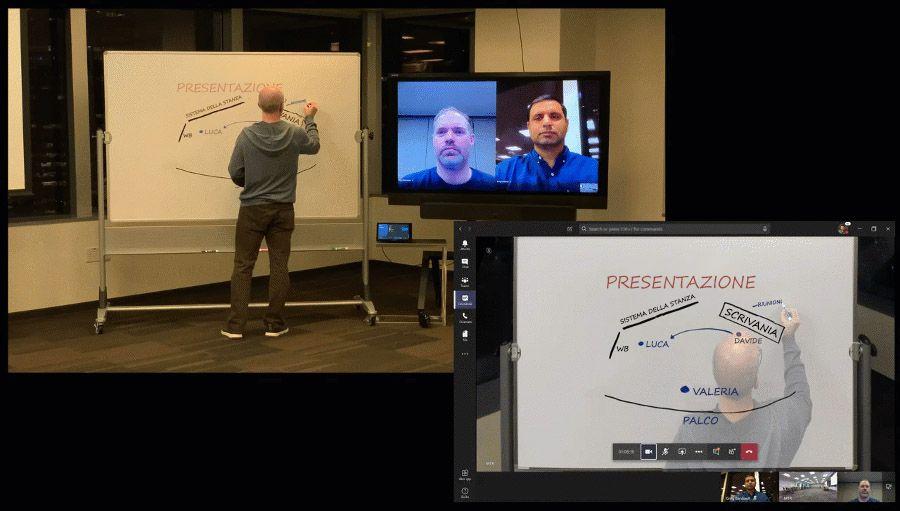 Immagini animate che mostrano la funzionalità Intelligent Capture utilizzata in Teams.