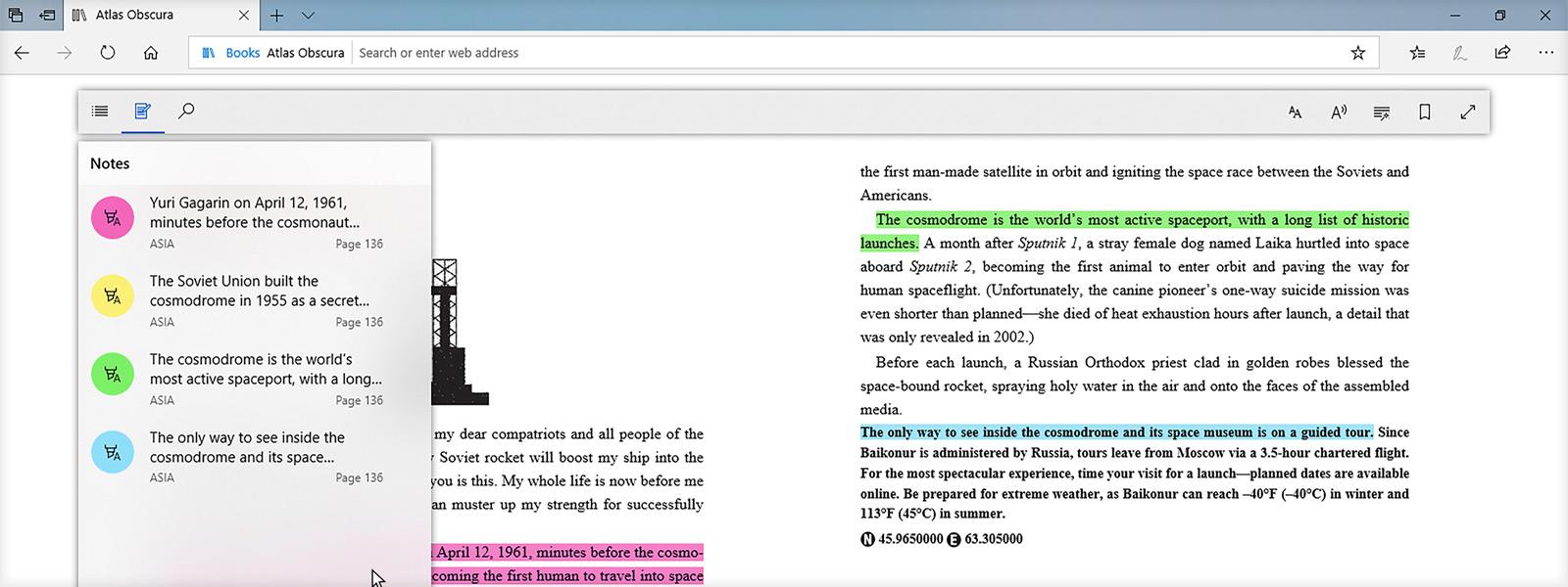 Microsoft Edge 内で書籍を読んでいる間にテキストのハイライトを示す画像