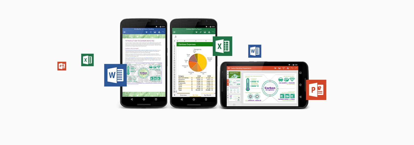 Android 携帯とタブレットで使える Office アプリケーションについてはこちら。