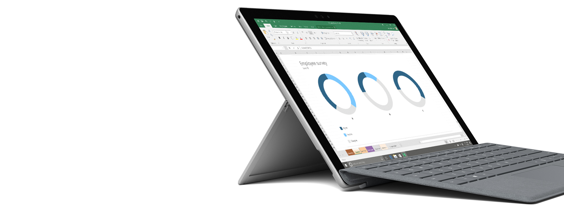 Windows/Office のスクリーンショットと Surface デバイス。
