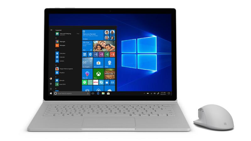 Surface 上の Windows 10 スクリーンショット。