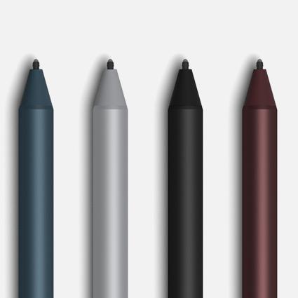 コバルト ブルー、プラチナ、ブラック、バーガンディの Surface ペン