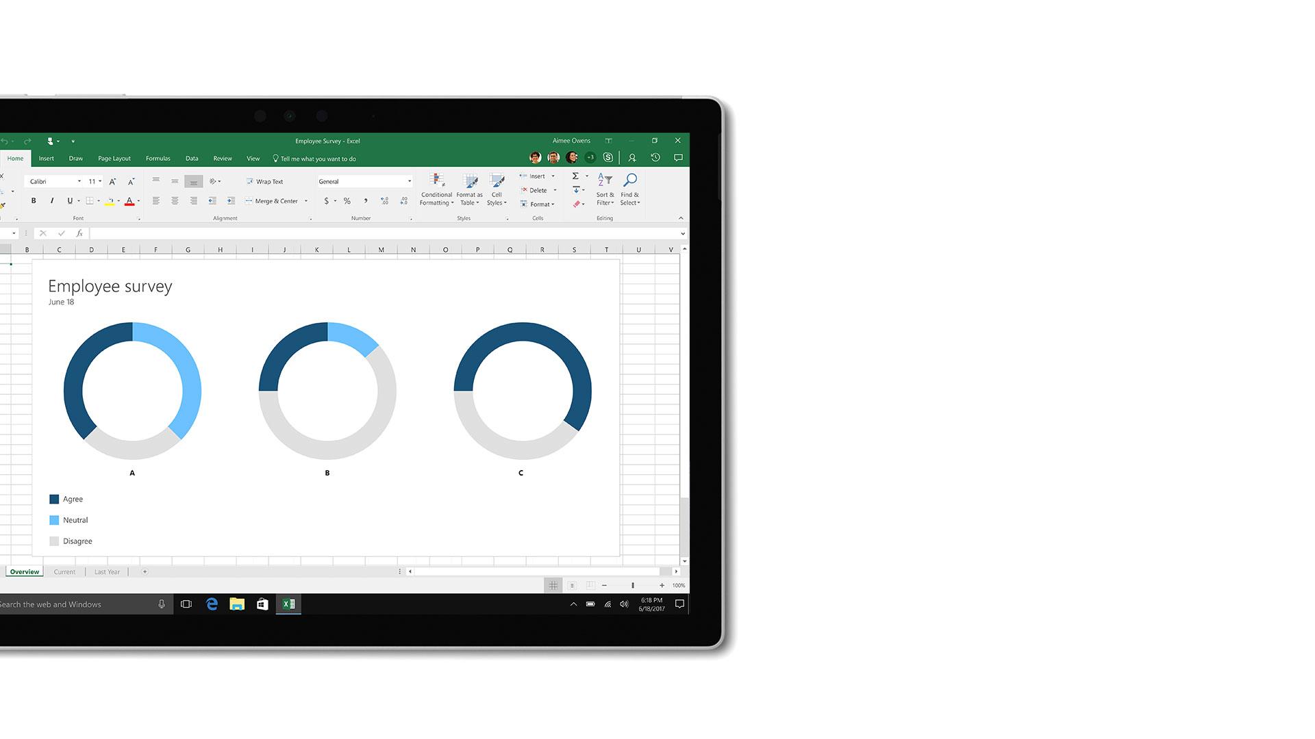 Microsoft Excel のユーザー インターフェイスの画像