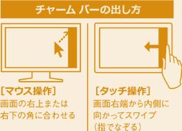 チャーム バーの出し方。[マウス操作] 画面の右上または右下の角に合わせる。[タッチ操作] 画面右端から内側に向かってスワイプ (指でなぞる)。