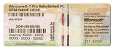 画像:再生 PC の COA の例