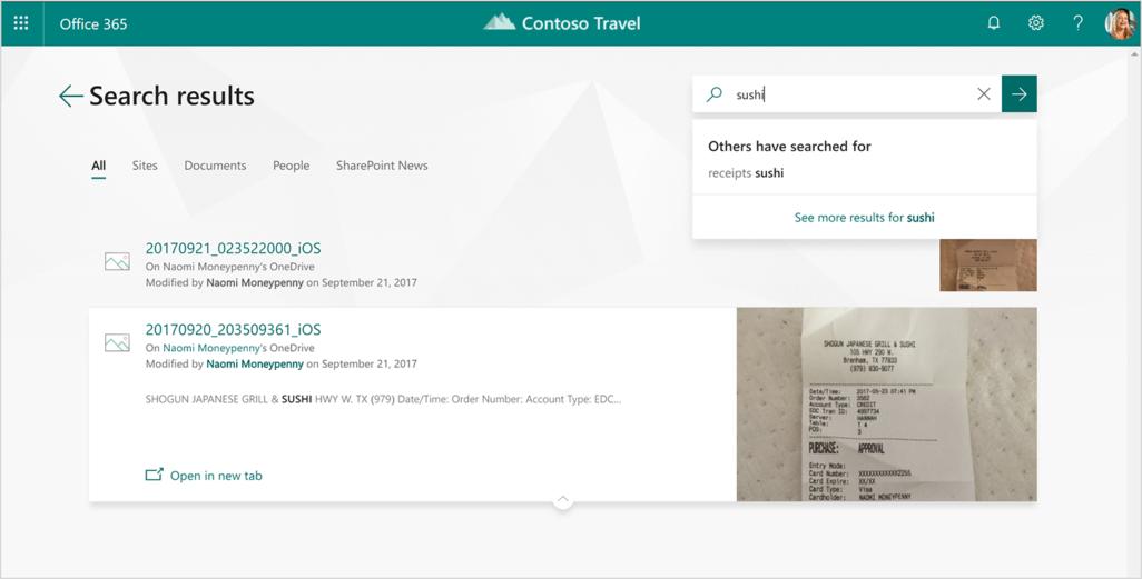 Office 365 で寿司のレシートの検索結果を表示した画面のスクリーンショット。
