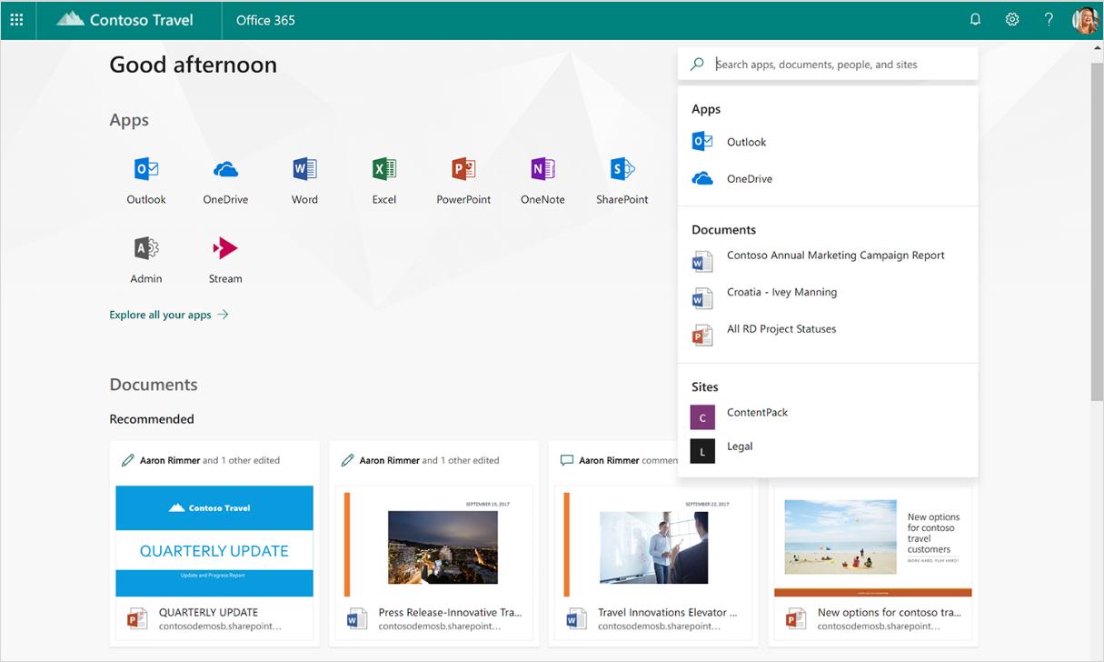 Office 365 内での検索で、インテリジェントな候補を表示した画面のスクリーンショット。