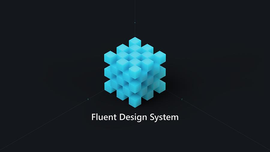 Microsoft の最新の設計言語を使って没入感と強い魅力を備えたエクスペリエンスを作り出すことができる Fluent Design System のスクリーンショット。