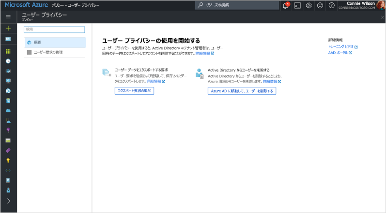 "Azure Directory の ""ユーザー プライバシーの使用を開始する"" 画面のスクリーンショット。"