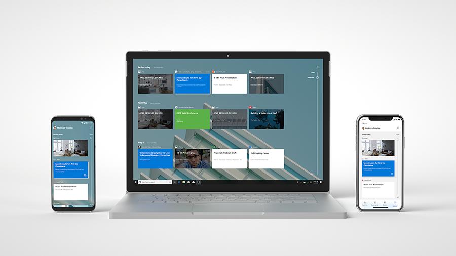 Android 版 Microsoft Launcher と iPhone および iPad 版 Microsoft Edge が表示されているノート PC とモバイル デバイスの画像。