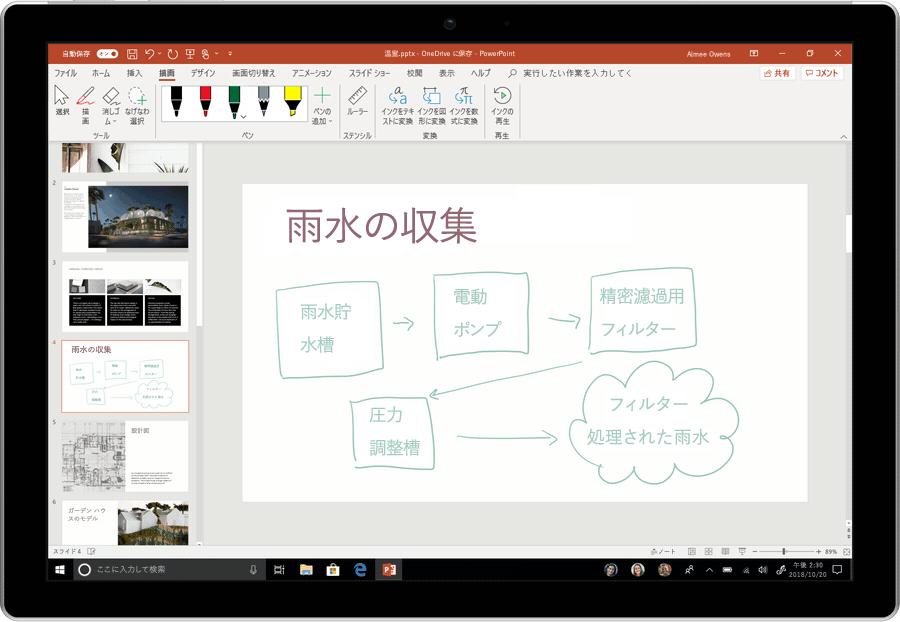 PowerPoint でインクをテキストに変換する方法をアニメーションで示すスクリーンショット。
