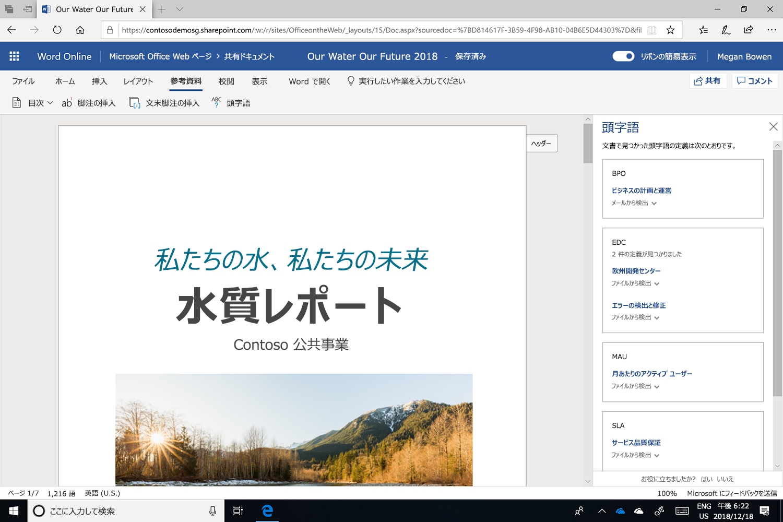 Microsoft Word で略語ウィンドウが開かれている画面のスクリーンショット。