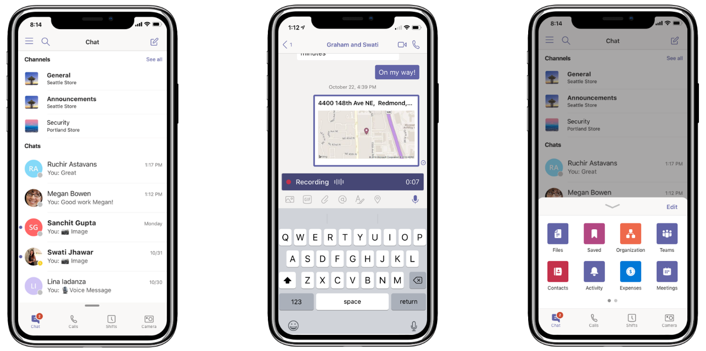 3 台の iPhone に Teams の新機能が表示されている。すべての会話の一括管理 (左)、位置情報の共有と音声メッセージの記録 (中央)、およびナビゲーション メニューのカスタマイズ (右)