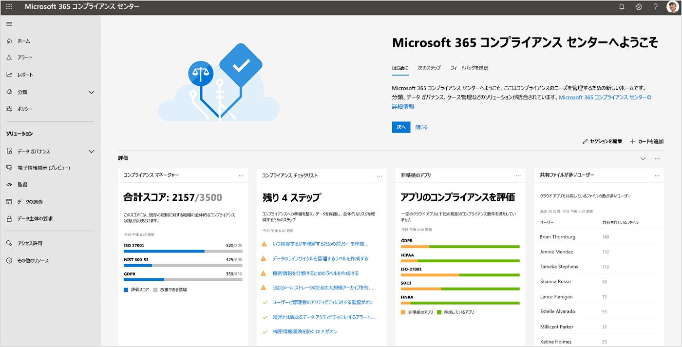 Microsoft 365 コンプライアンス センターのダッシュボードのスクリーンショット。