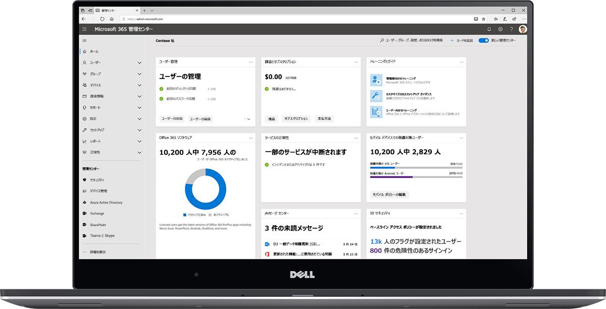 Microsoft 365 管理センター ダッシュボードの画像。