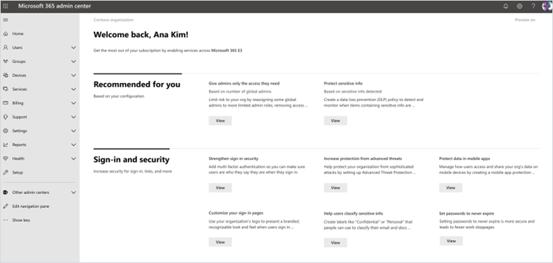 Microsoft 365 管理センターでのオンボーディング ハブのスクリーンショット。