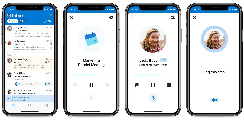 4 台のスマートフォンを横に並べた画像。パーソナル アシスタントとしての Cortana のパワーを表しています。1 つは Outlook の受信トレイ、次の 2 つはモバイル会議が表示され、最後の 1 つは Cortana がメールにフラグを設定しようとしていることを示しています。