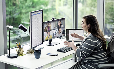 Image of a woman in a conference call on Microsoft Teams.