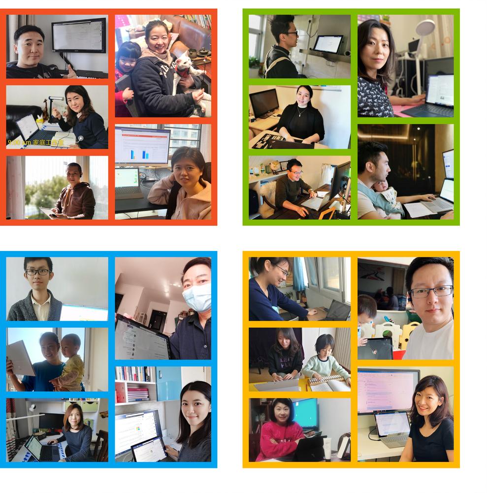 リモート ワーク中の Microsoft の従業員たち