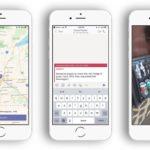 작동 중인 Microsoft Teams를 세 개의 휴대폰에 나란히 보여주는 이미지. 한 휴대폰에는 지도가, 두 번째 휴대폰에는 긴급 공지가 표시되고, 세 번째 휴대폰에서는 소형 냉장고 안의 음료수 캔에 동그랗게 표시되어 있습니다.