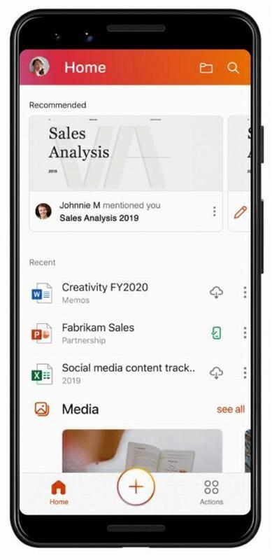 새 Office 앱의 홈 화면