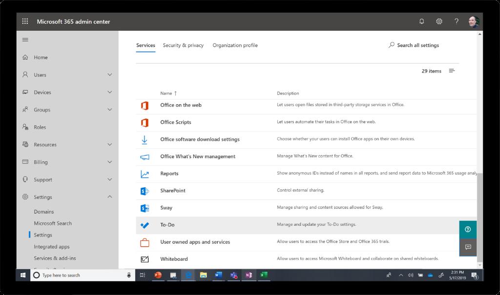 Microsoft 365 관리 센터의 서비스