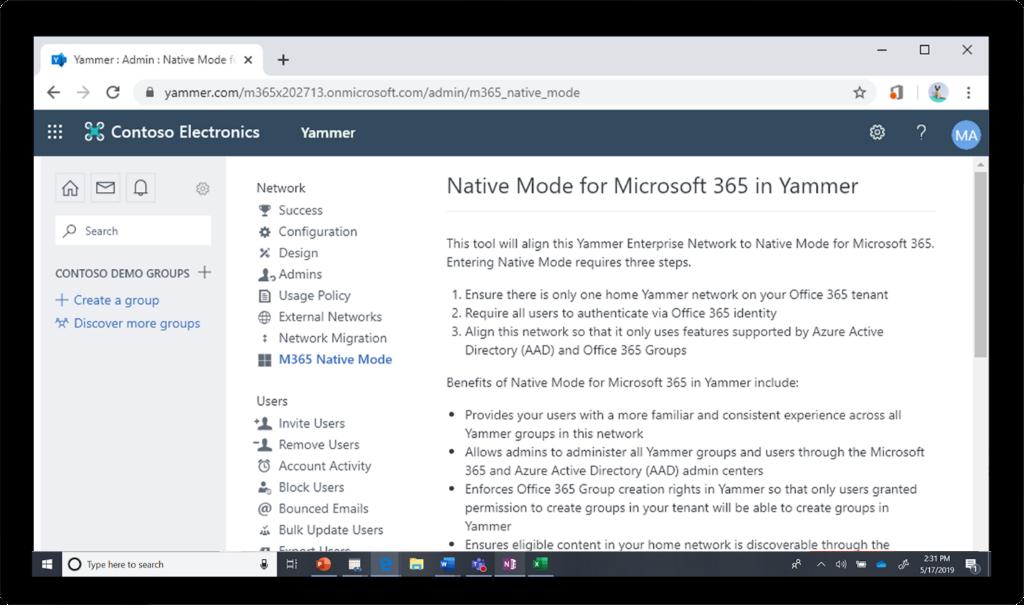 Yammer에서 사용하도록 설정된 Microsoft 365 기본 모드의 이미지