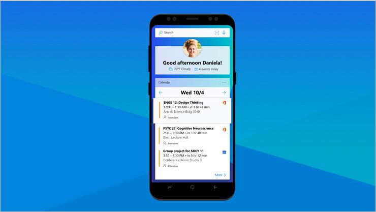 Android-telefon som viser en Office-skjerm
