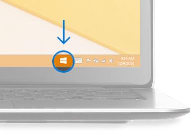 Nederst i høyre hjørne av skrivebordet med en sirkel rundt Windows-ikonet