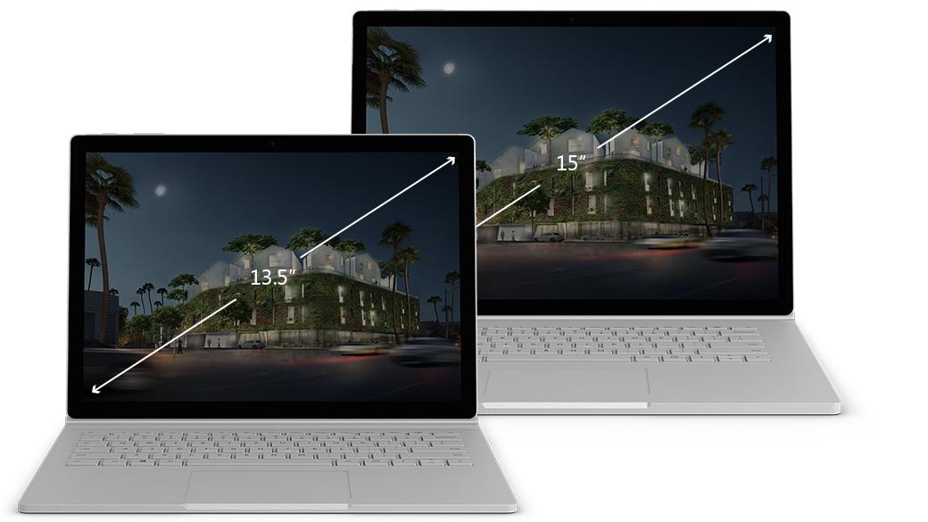 Sammenligning av størrelsene på Surface Book 2-skjermene