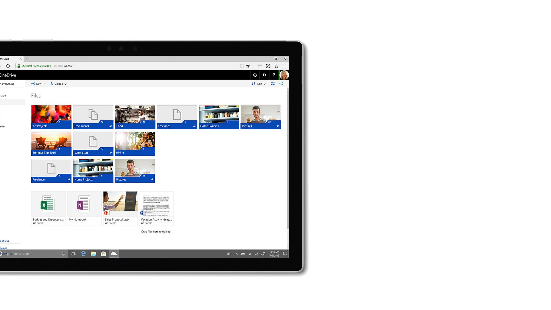 Bilde av brukergrensesnittet i Microsoft OneDrive