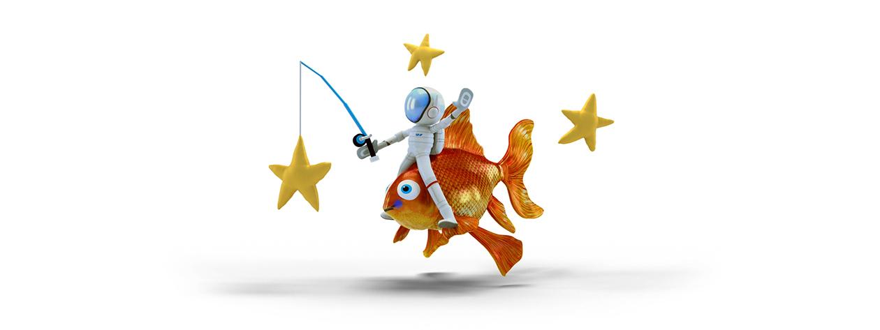 Afbeelding Fishing stars in Windows Paint 3D