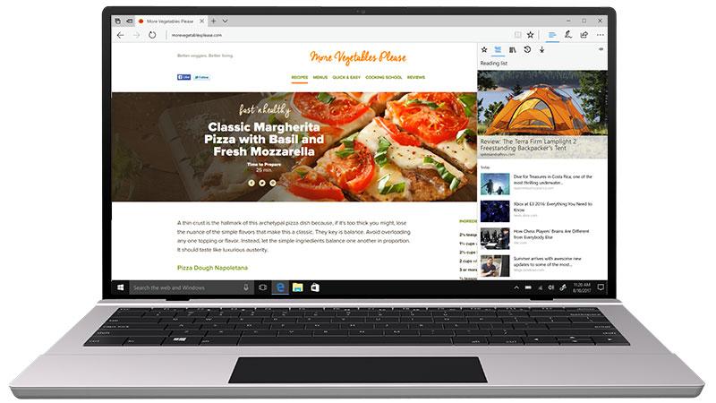Microsoft Edge Hub met favorieten