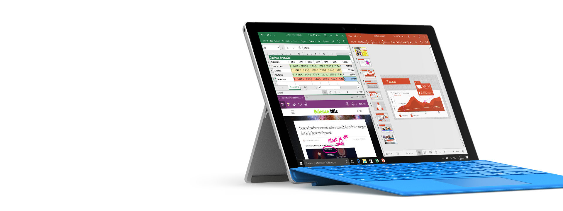 Surface Pro 4 met Office op het scherm