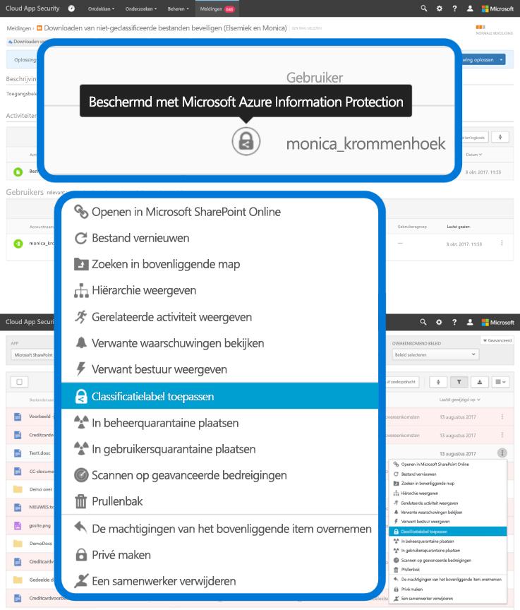 """Schermafbeelding met de selectie """"Classificatielabel toepassen"""" in een vervolgkeuzemenu in Azure Information Protection."""