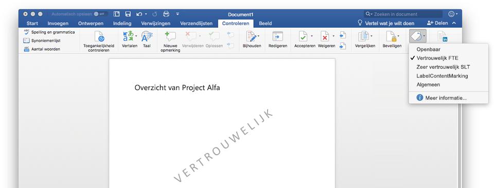 Schermafbeelding met een Vertrouwelijk document in Word, inclusief het watermerk van het document.