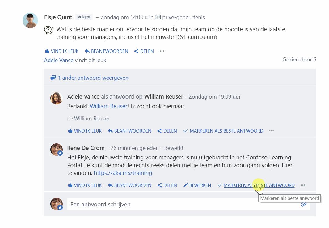 Afbeelding met vraag- en antwoordfuncties van Yammer. Een cursor klikt op 'markeer het beste antwoord' op iemands antwoord.