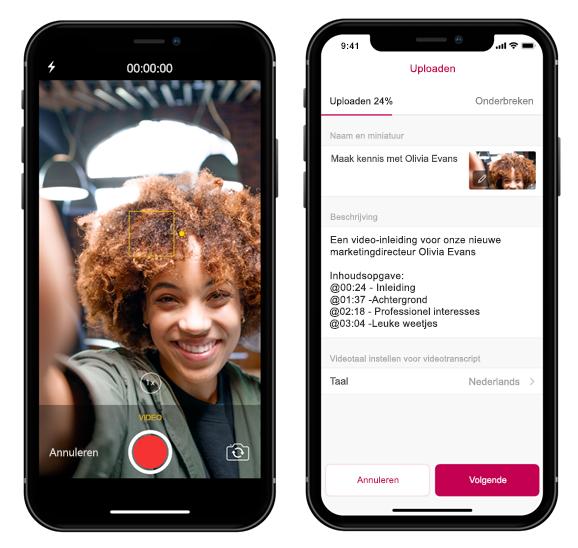 Afbeelding van twee telefoons met de mobiele Microsoft Stream-app.