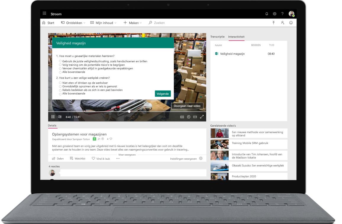Afbeelding van een geopende laptop open, op het scherm wordt een Microsoft Stream-poll gehouden.