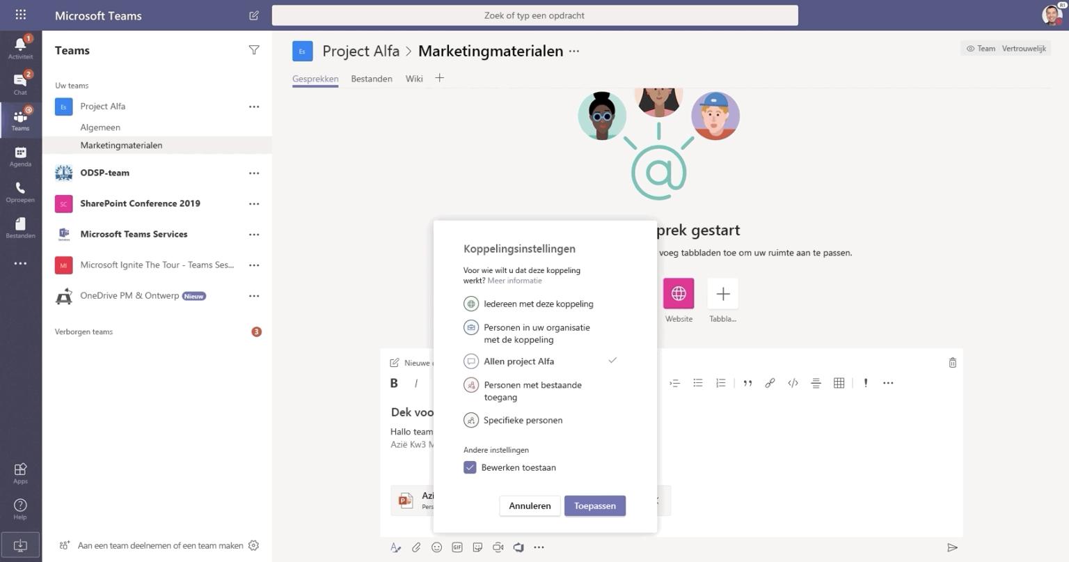Afbeelding van een gesprek in Microsoft Teams.