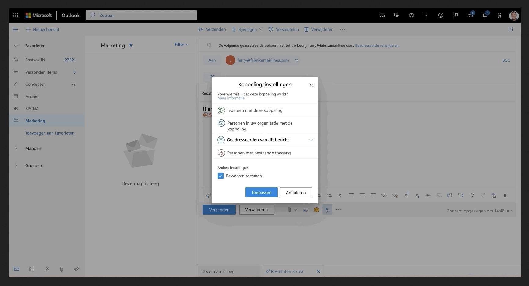 Afbeelding van een gedeeld bestand in Outlook.