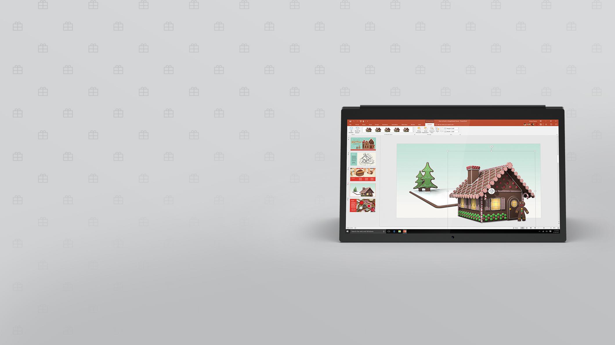 Un ordinateur portable avec une image des fêtes à l'écran.